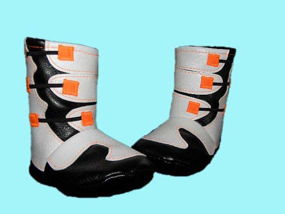 Motocross Baby Boots in orange, black, and white, by BellaLise Designs.