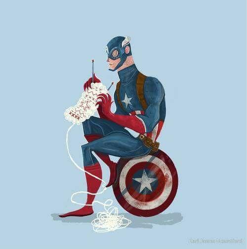 Súper héroe tejiendo