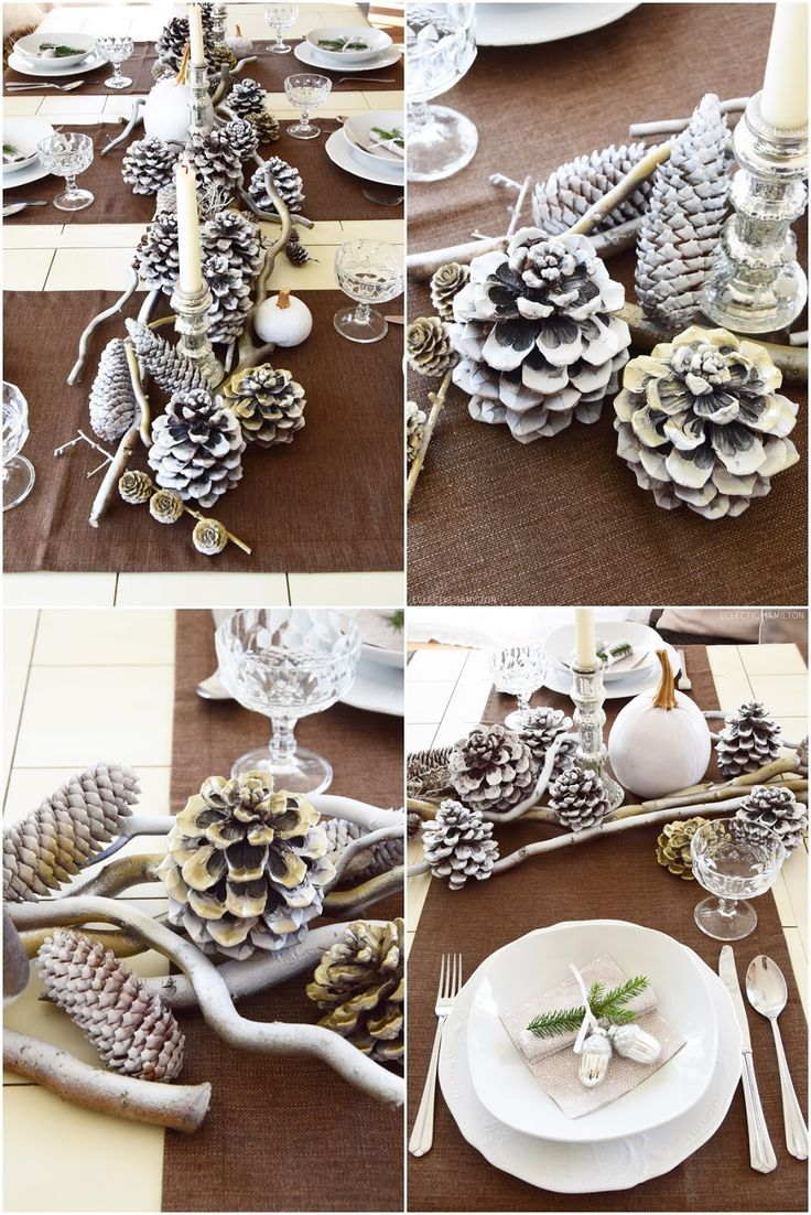 Photo of Table decoration for winter and Christmas with nature. Decoration idea natural materials: fre …