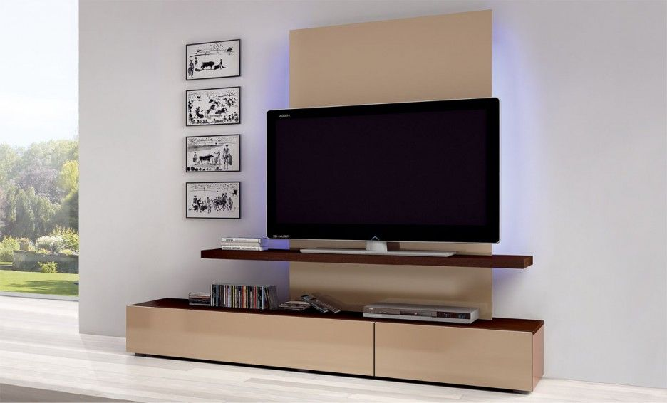 Interior home design living room simple tv cabinet set for Wall mounted tv units for living room