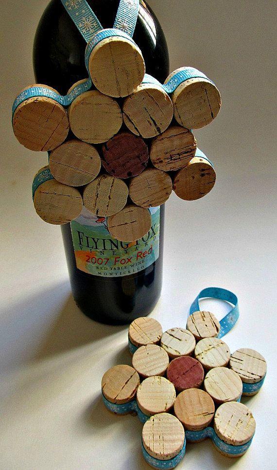 Cork Snowflake Ornament / Wine Bottle by LizzieJoeDesigns on Etsy