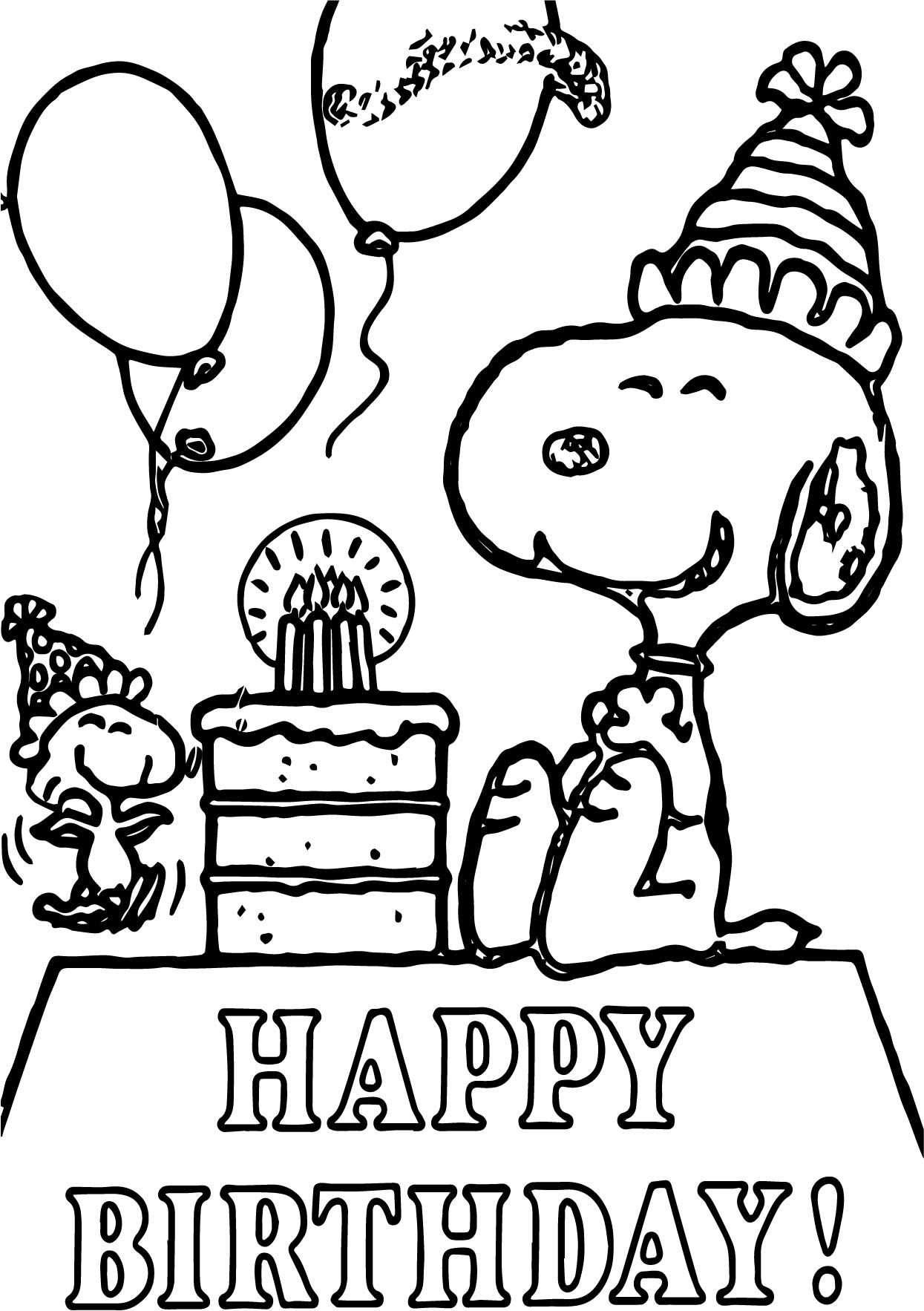Snoopy Happy Birthday Quote Coloring Page In 2020 Happy Birthday Coloring Pages Birthday Coloring Pages Snoopy Coloring Pages