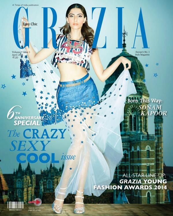 Sonam Kapoor On the cover of Grazias 6th Anniversary Issue April 2014
