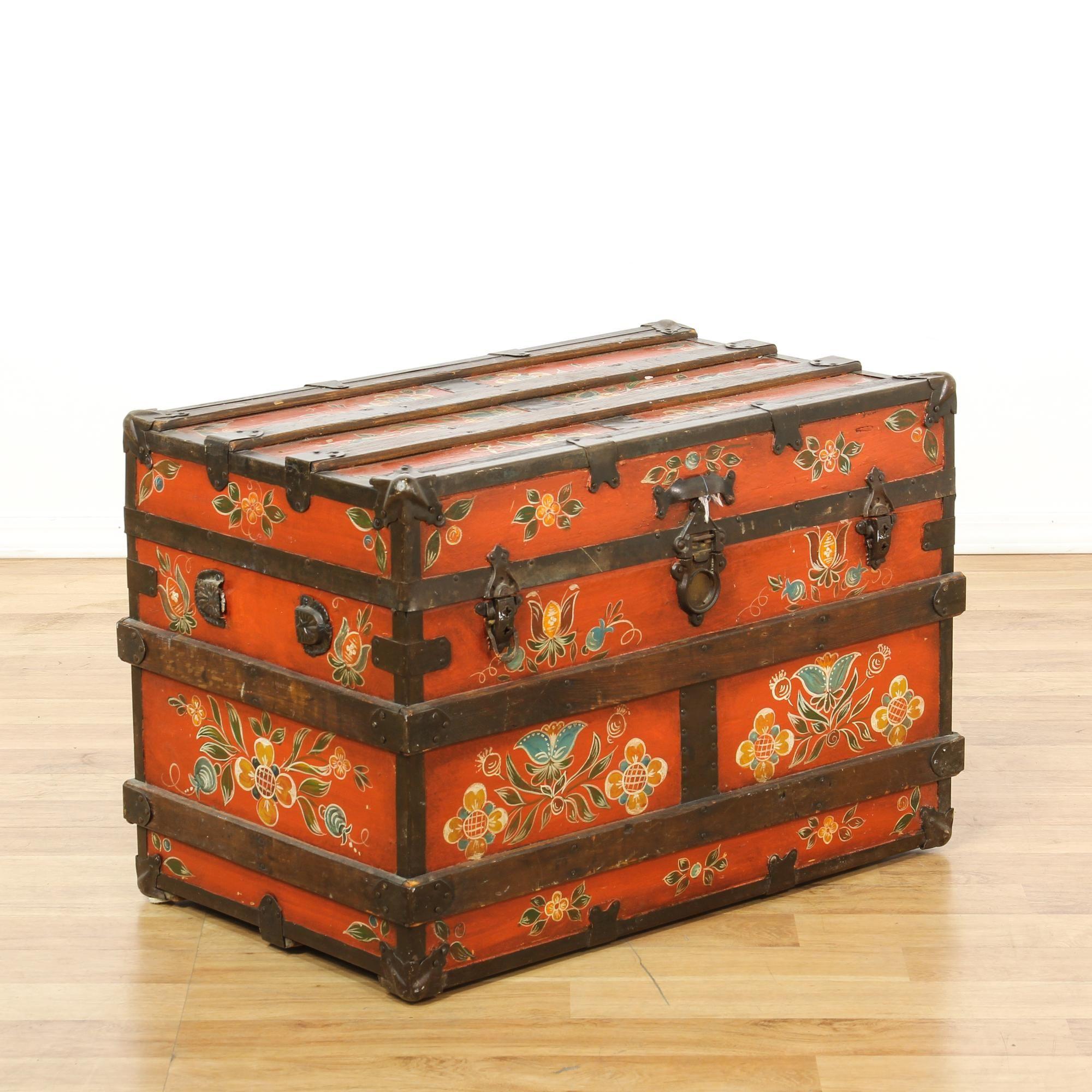 Exceptionnel Antique Red Floral Painted Trunk | Loveseat Vintage Furniture San Diego U0026  Los Angeles