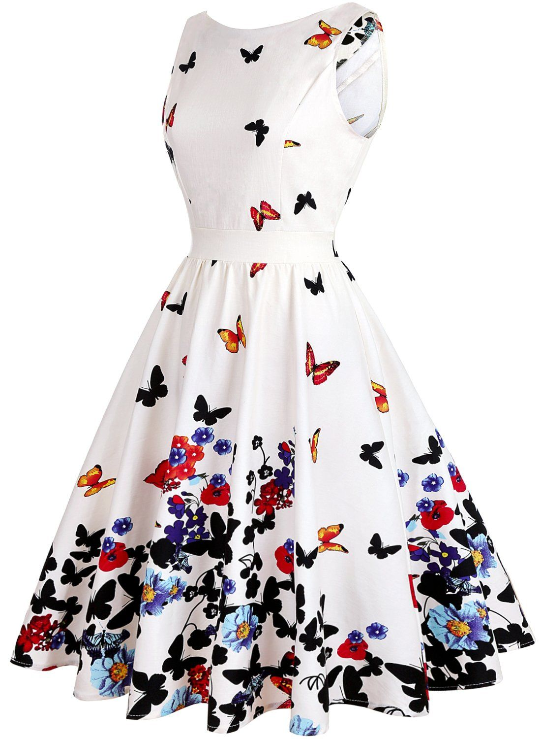 Olady Womens Boatneck Sleeveless Vintage Tea Dress Fit And Flare Rockabilly Floral 1950s Pinup Swing Dressbeige Butter Vintage Tea Dress Dresses Pretty Dresses [ 1500 x 1100 Pixel ]