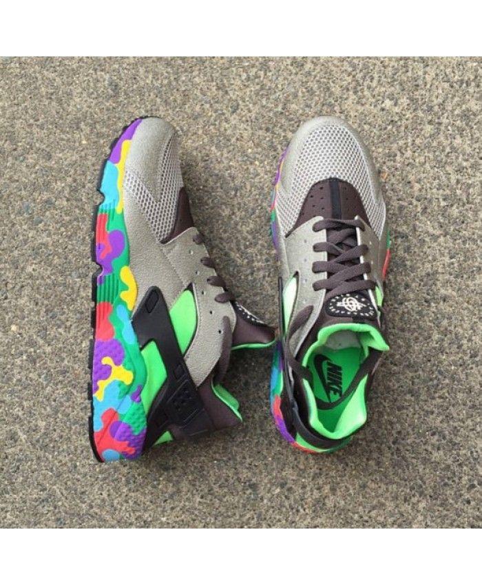 best sneakers 60be2 75766 Nike Air Huarache Custom Wolf Grey Green Trainer ...