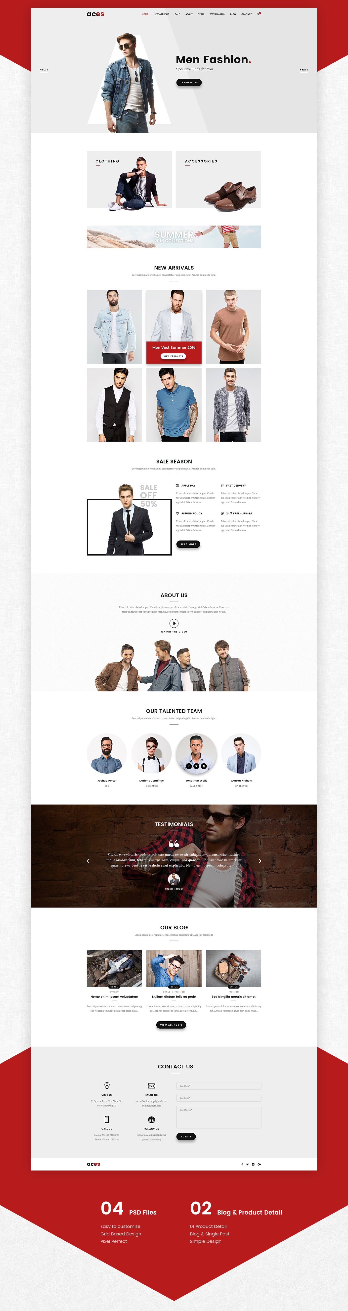ACES - Free eCommerce One Page Template | Website Templates ...