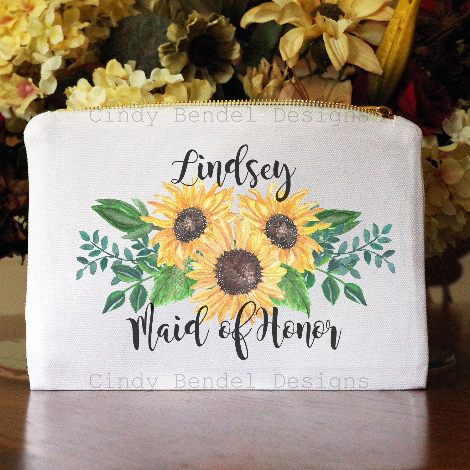 Personalized Sunflower Makeup Bag Rustic Sunflower