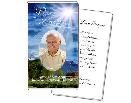Outdoor Large Prayer Card For A Memorial Service  Prayer Cards