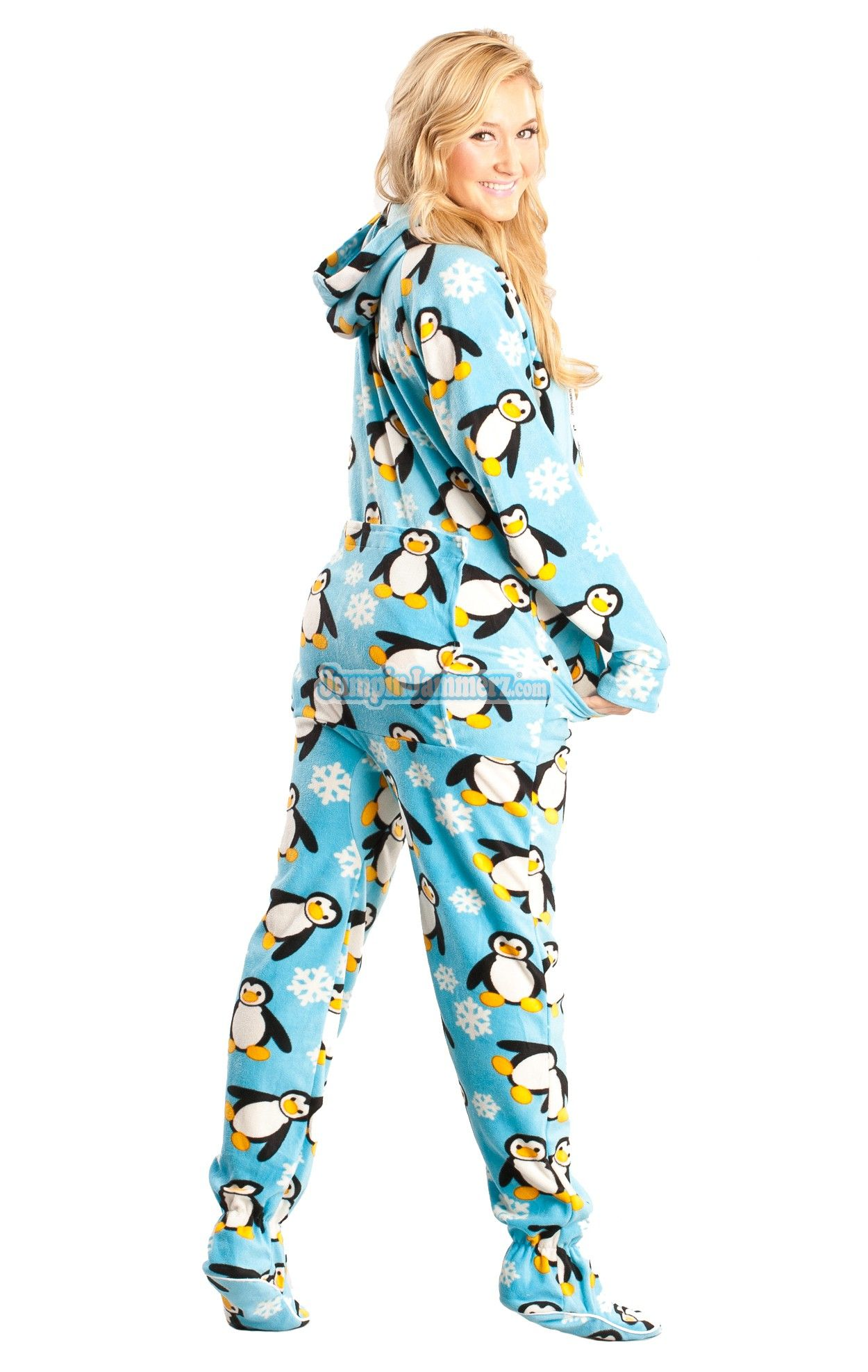 Penguins - Drop Seat Hoodie - Pajamas Footie PJs Onesies One Piece Adult  Pajamas - JumpinJammerz.com 04baa1e58