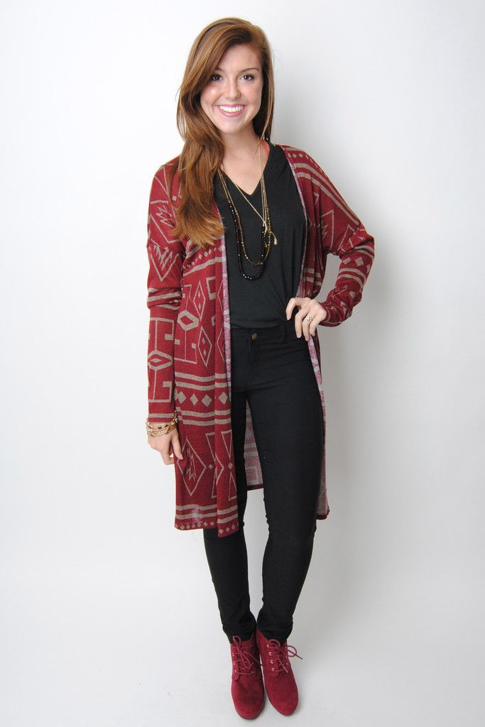 Burgundy Maxi Cardigan with Mauve Aztec Print – Deep South Pout ...