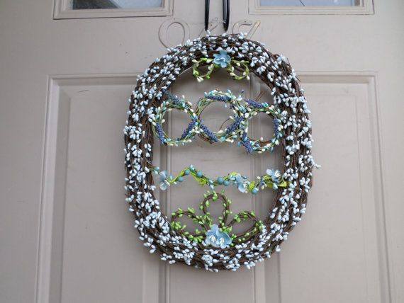 Grapevine Easter egg wreath or decor  blue and by allaroundtheyear