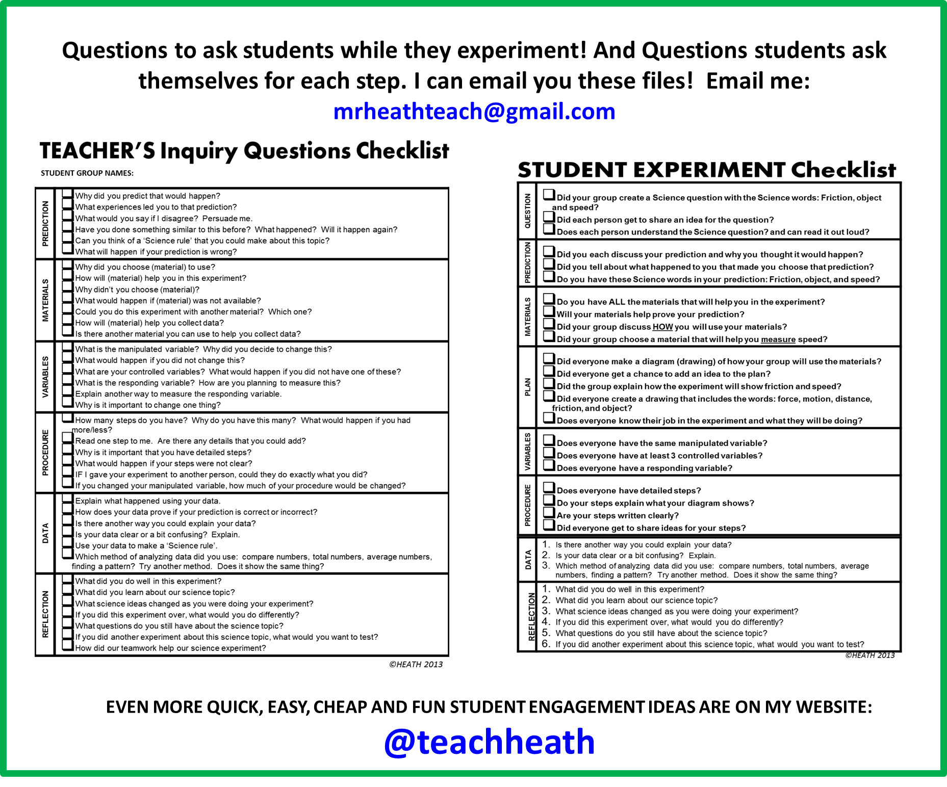 Questions For Teachers To Ask Students Or For Students To