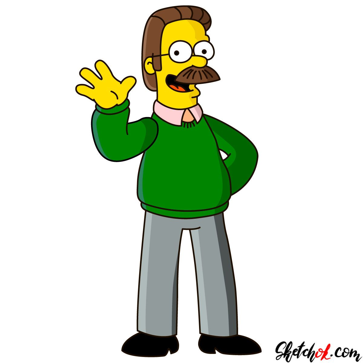 How To Draw Ned Flanders Step By Step Drawing Tutorials Ned Flanders Simpsons Drawings Drawings