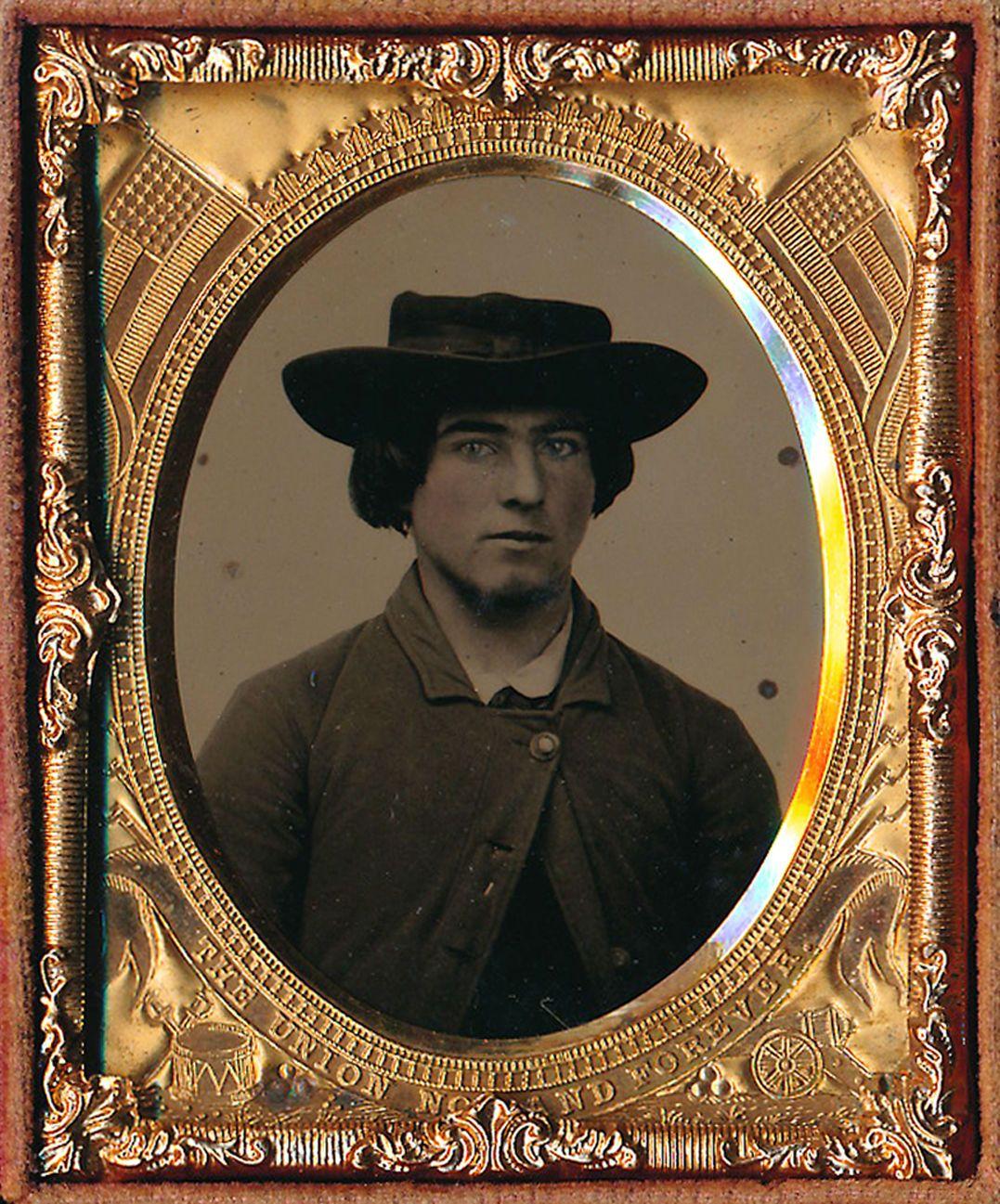 1 9 Plate Tintype Civil War Man in Slouch Hat Full Case Patriotic Mat RARE | eBay