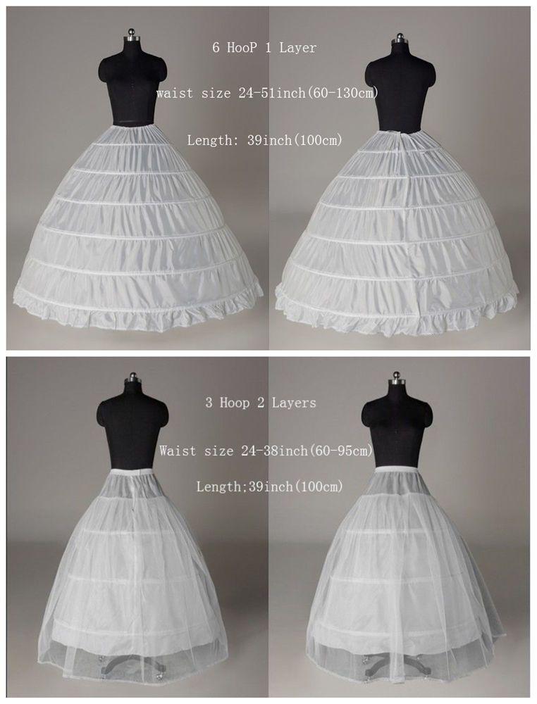 9f7601bed3eca 6-HOOP/ 3-HOOP New White Petticoat Wedding Gown Crinoline Petticoat Skirt  Slip