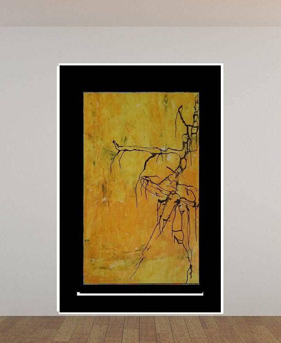 Modern Art Print, Yellow Abstract Giclee Print, Living Room Wall Art ...