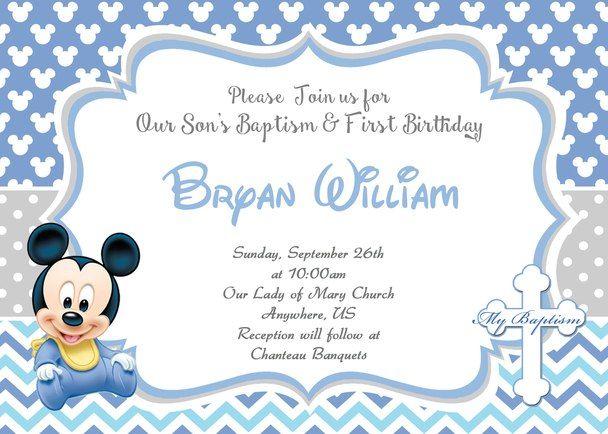Prince Mickey Baptism and First Birthday Invitation