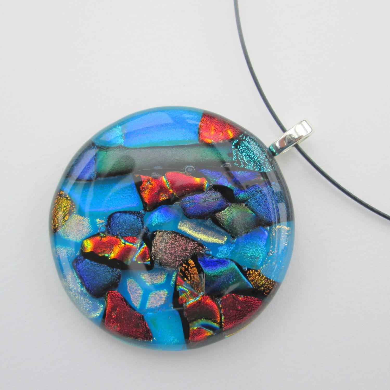 Large handmade fused glass pendant necklace - blue purple green orange gold multi dichroic glass - UK designer maker - Handmade in England by BlueBoxStudio on Etsy