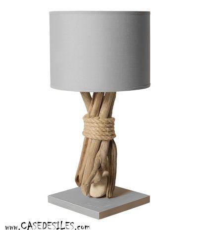 lampe de chevet galet bois flott 35cm cendre pas cher. Black Bedroom Furniture Sets. Home Design Ideas