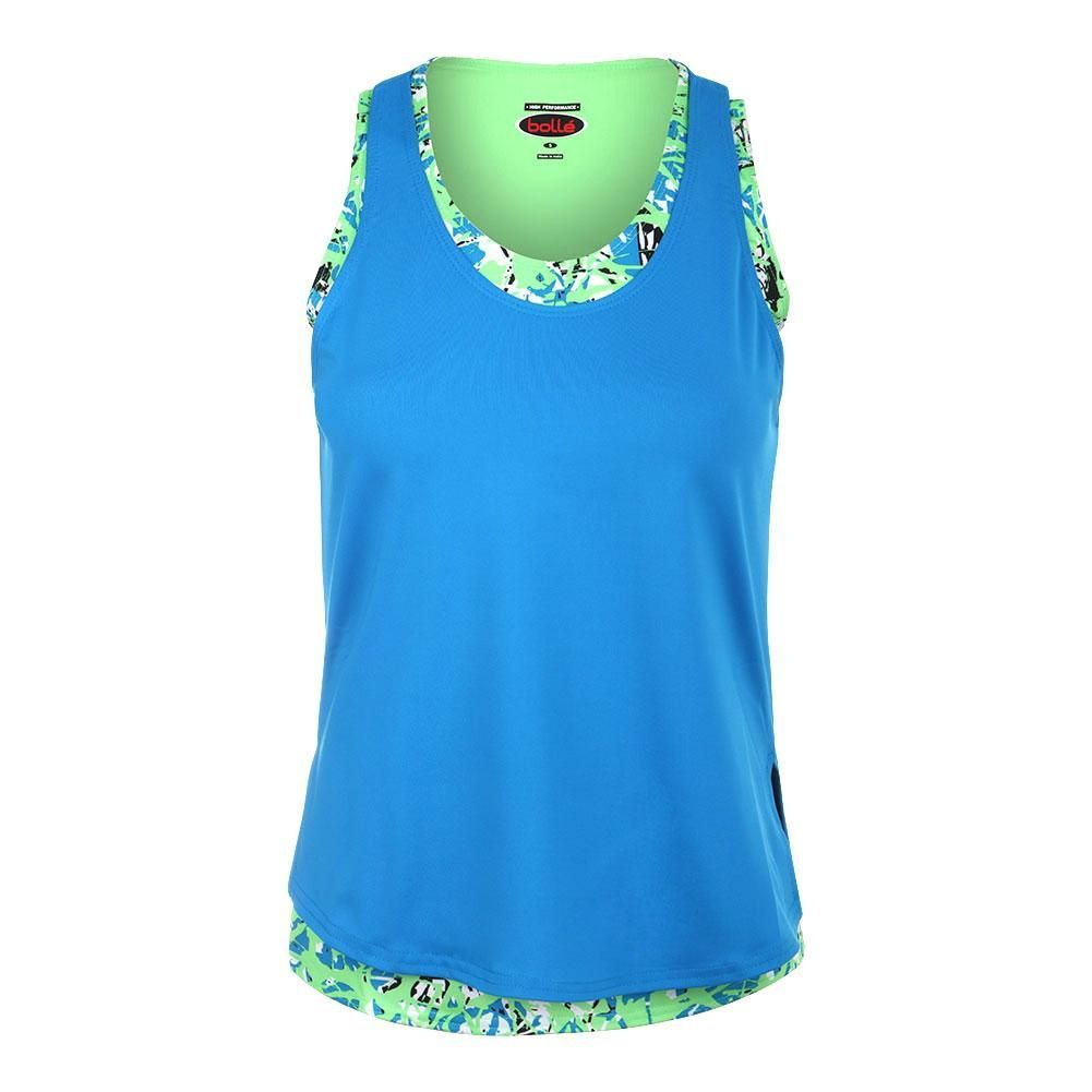 Womens Painters Palette Tennis Tank Electric Blue and Print