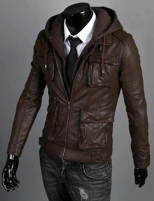 7e2da97f3c9 Handmade brown hooded Leather Jacket men leather by Besteshop ...