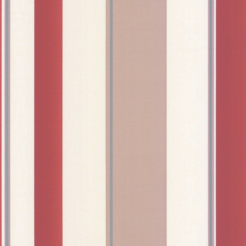 Erismann Poppy Striped Wallpaper Red Taupe Cream Home Decor