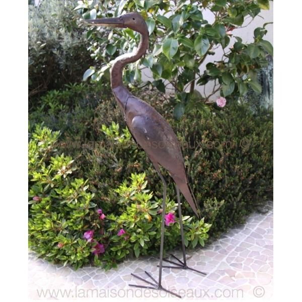 heron 105 cm sculpture en metal recycl en vente la maison des oiseaux 56340 carnac plage. Black Bedroom Furniture Sets. Home Design Ideas