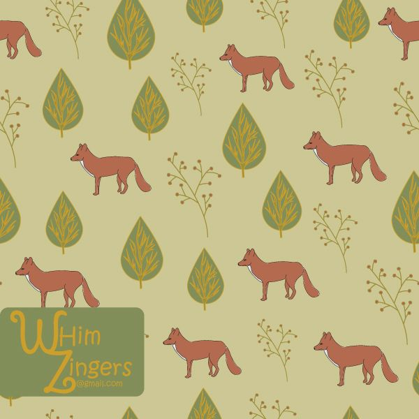 A digital repeat pattern for seamless tiling. #repeatpattern #seamlesspattern #textiledesign #surfacepatterndesign #vectorpatterns #homedecor #apparel #print #interiordesign #decor #repeat #pattern #repeat #seamless #repeating #tile #scrapbooking #wallpaper #fabric #texture #background #whimzingers #animals #fox #foxes #brown #Flowers #floral #green #beige