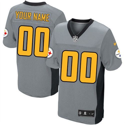 65056cdc3 Men s Customized Elite Grey Shadow Nike Pittsburgh Steelers NFL Jersey  Authentic