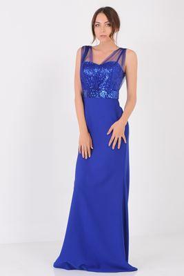 Resim Ustu Pullu Saks Mavisi Abiye Elbise Modelleri Elbise Moda