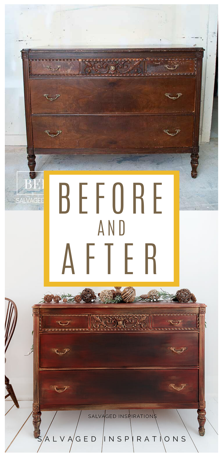 Before and After| DIY Holiday Dresser Makeover | Salvaged Inspirations #siblog #salvagedinspirations #paintedfurniture #furniturepainting #DIYfurniture #furniturepaintingtutorials #howto #furnitureartist #furnitureflip #salvagedfurniture #furnituremakeover #beforeandafterfurnuture #paintedfurnituredieas #paintedfurniture #painteddresserideas #dixiebellepaint
