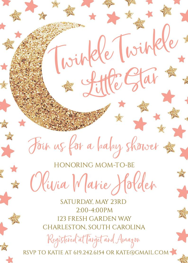 Twinkle Twinkle Little Star Baby Shower Invitation Wording : twinkle, little, shower, invitation, wording, Twinkle, Little, Shower, Invitation, Invitations,, Theme,, Showers