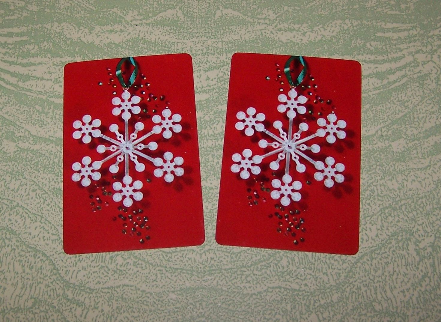 Single swap playing card Christmas snowflake ornament decoration by BigGDesigns on Etsy