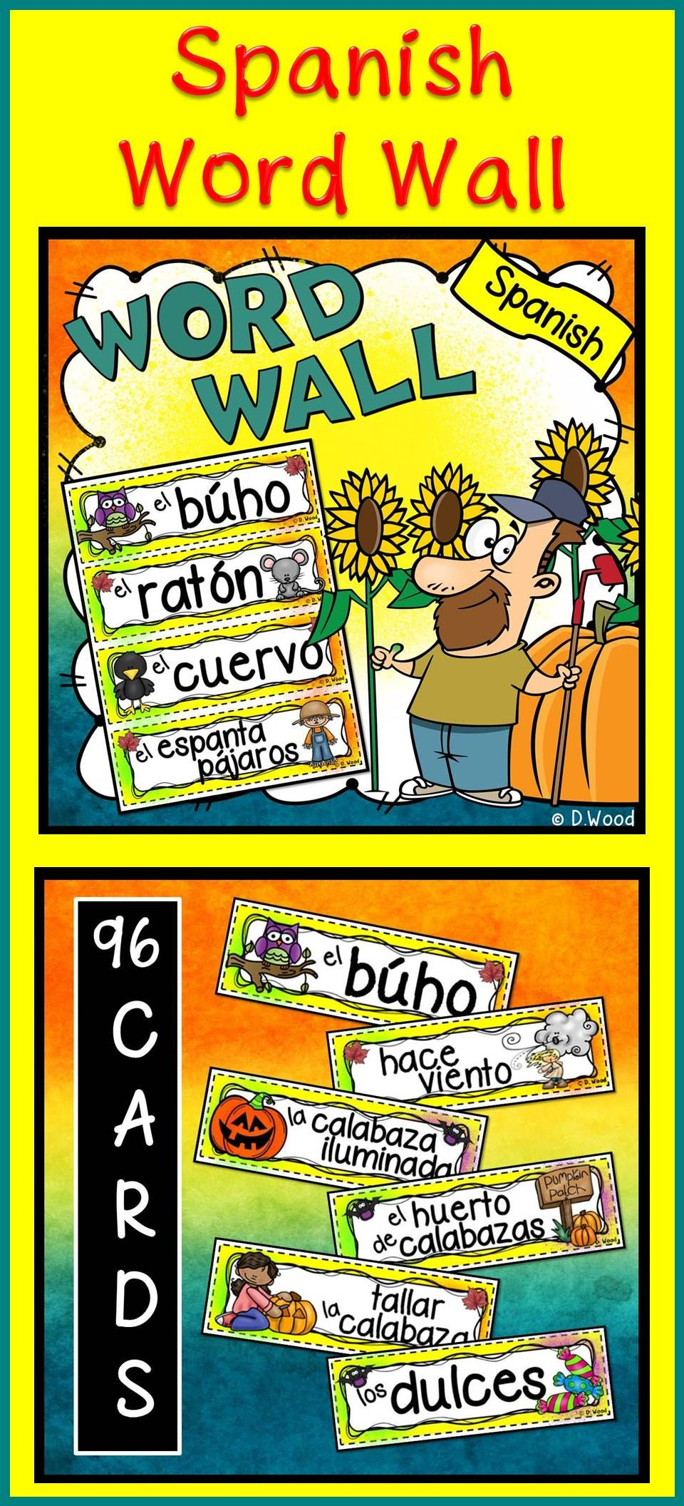 Spanish Word Wall (Fall/ Autumn/ October) | Spanish vocabulary ...