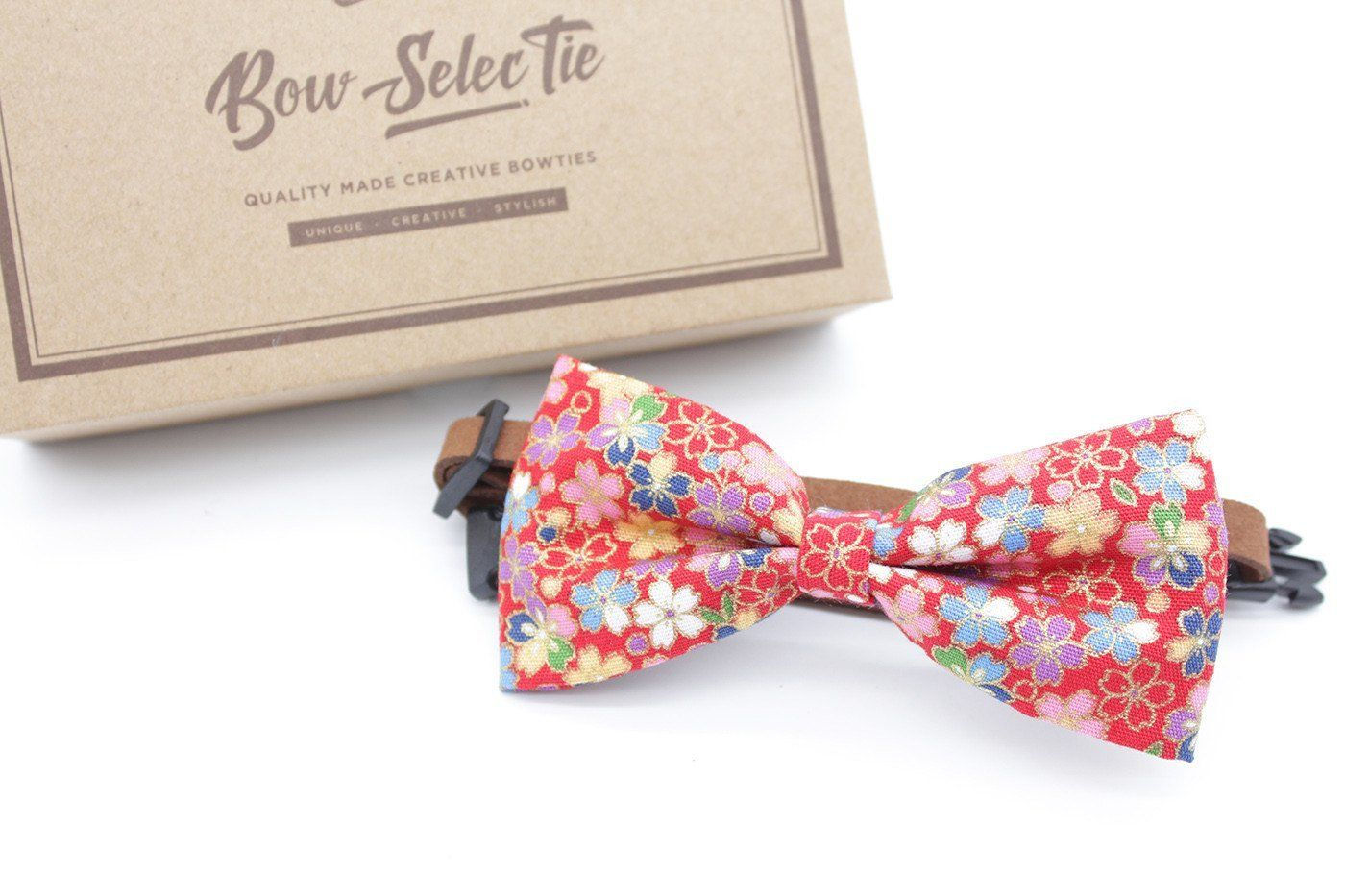 Red Floral Cat & Dog Bow Tie Collar One side of the