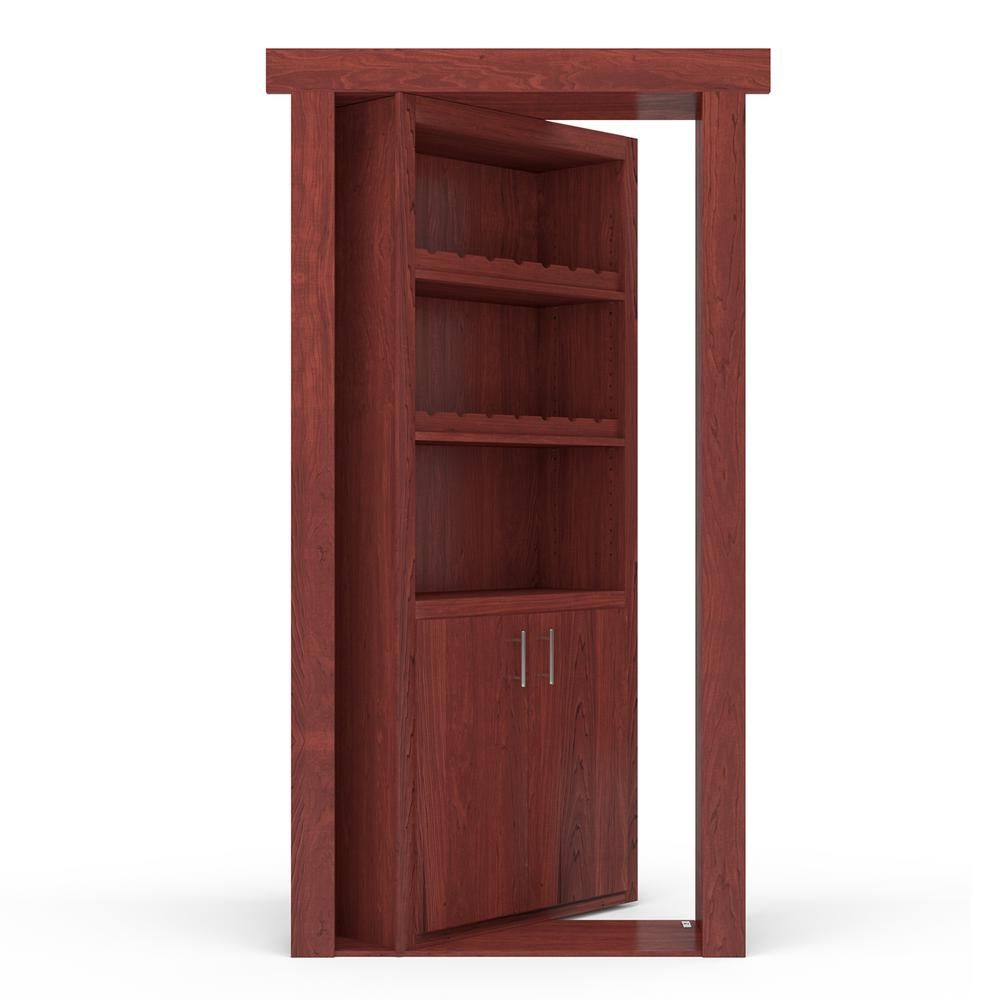 The Murphy Door 30 In X 80 In Flush Mount Assembled Maple Cherry Stained Right Hand Outswing Wine Rack Door The Murphy Door Murphy Door Cherry Stain