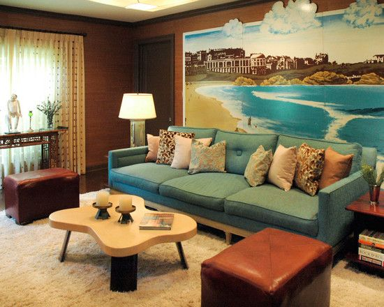 Ocean Themed Family Room Decorated With Exclusive Beach Painting On Wall  Featured With Coastal Home Furniture. Ocean Themed Family Room Decorated With Exclusive Beach Painting
