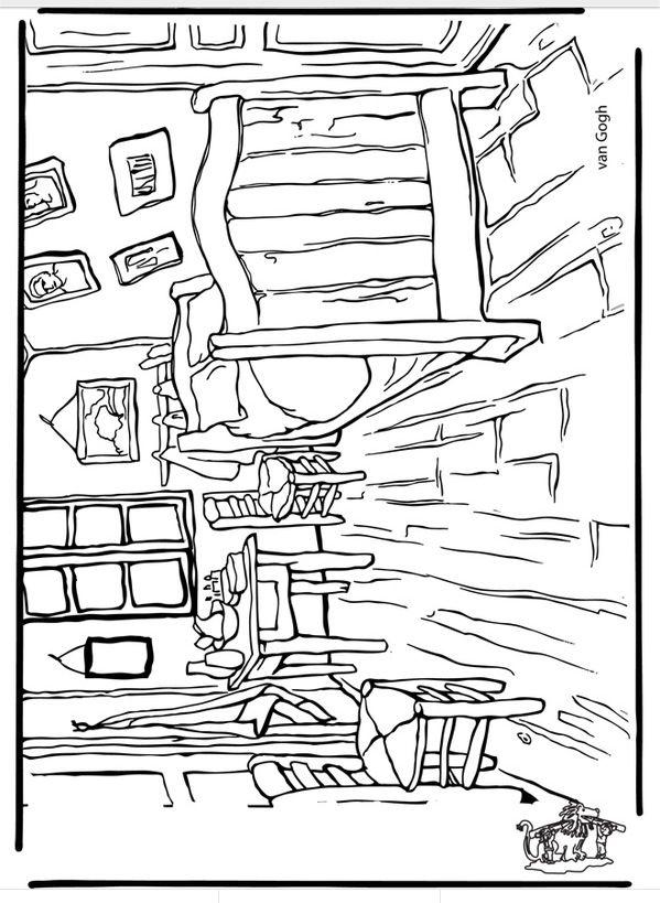 Van gogh coloring page Printables