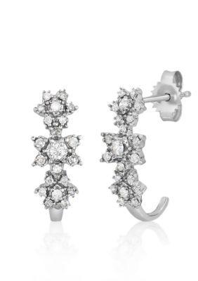 Belk  Co.  Diamond Flower Earrings in 10k White Gold