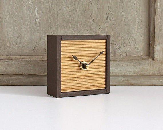 Small Desk Clock Modern Minimalist Bamboo And Wood Table Clock