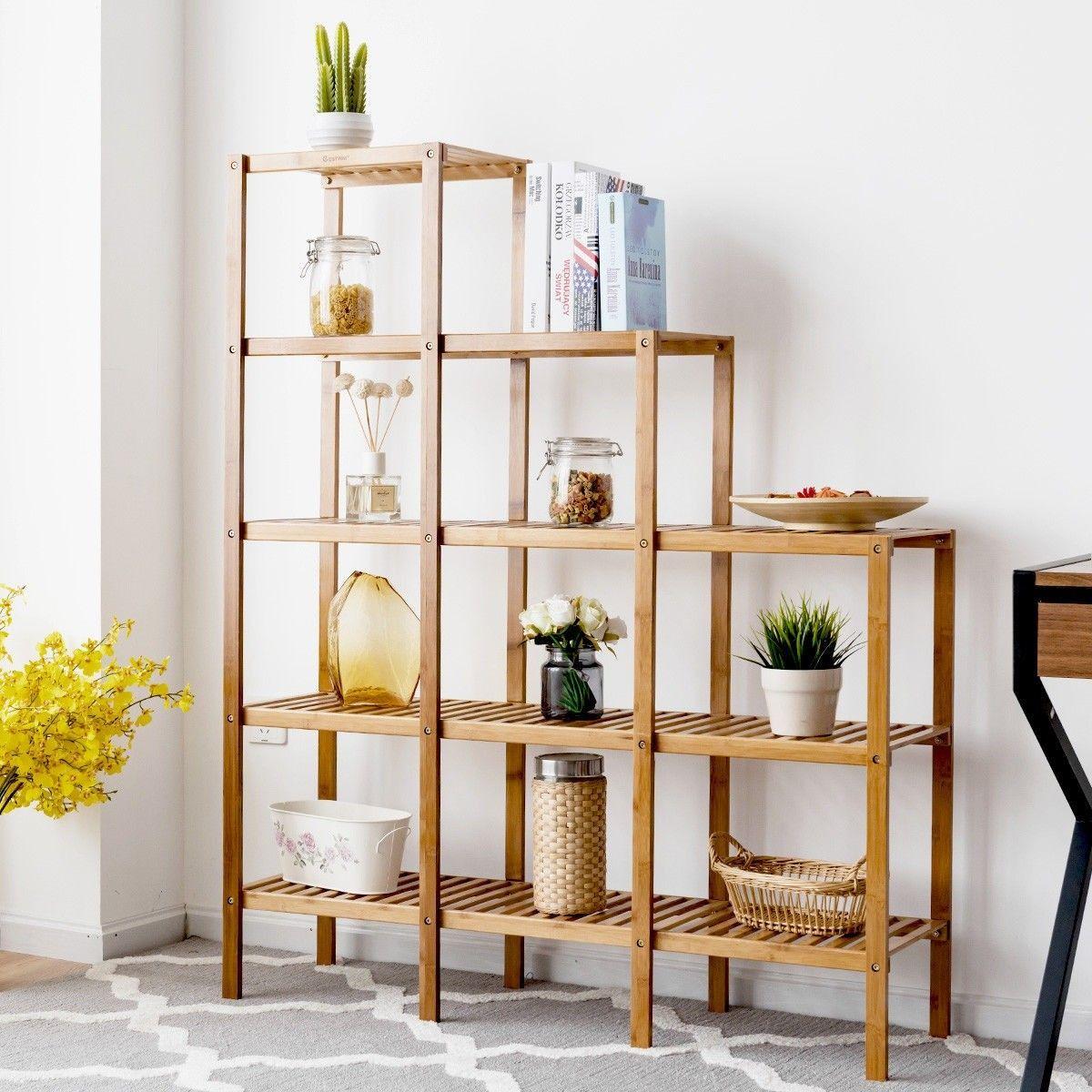 12 X 18 Living Room Ideas: Multifunctional Bamboo Shelf Display Organizer Color