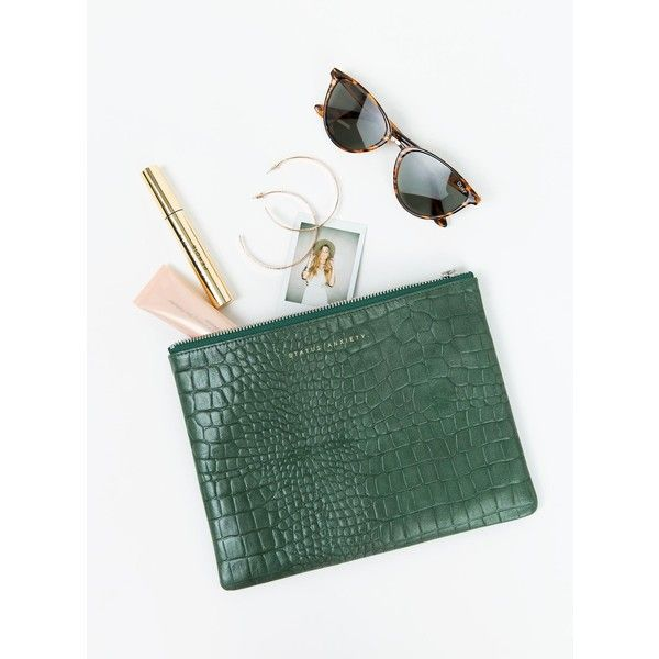 Status Anxiety Anti-Heroine Clutch Croc Emboss (140 BGN) ❤ liked on Polyvore featuring bags, handbags, clutches, teal, green handbags, crocodile embossed handbags, croco embossed handbags, crocodile purse and croc embossed handbags