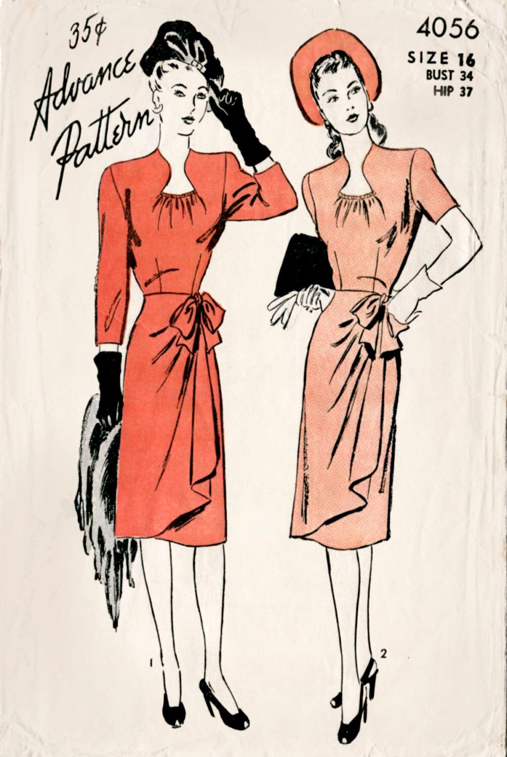 1940s 40s vintage women\'s sewing pattern day dress gathered bow ...