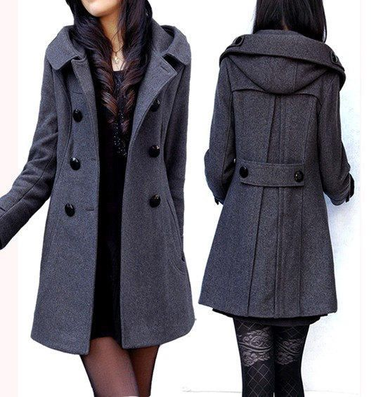4683f5f3b64d7 women s dark grey Wool Hooded coat double breasted button Coat Long Jacket  Autumn winter coat Hoodie Cape Women from fashionclothingshow on Etsy