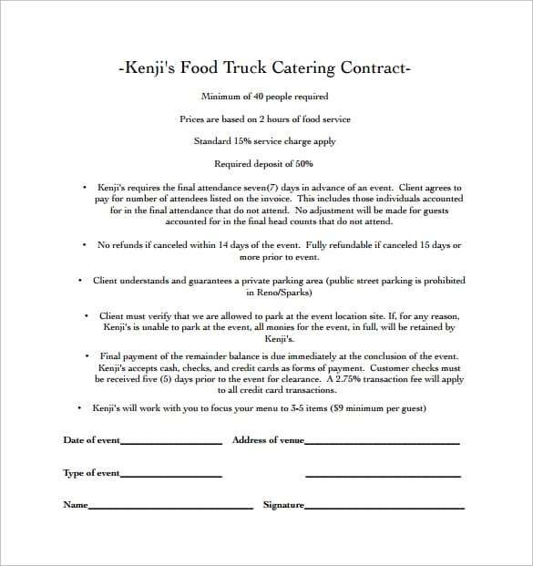 catering contract template 1