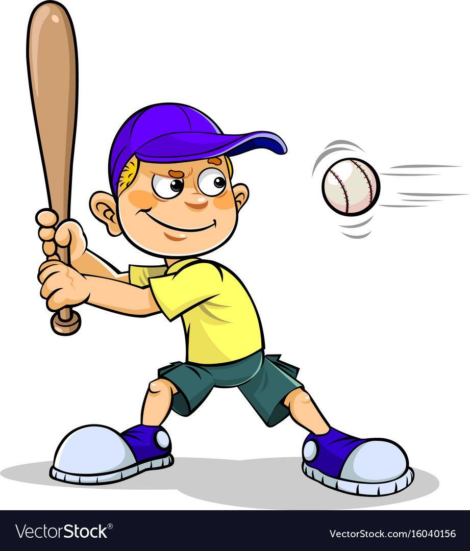 Boy Playing Baseball Royalty Free Vector Image Cartoon People Boys Playing Baseball Vector