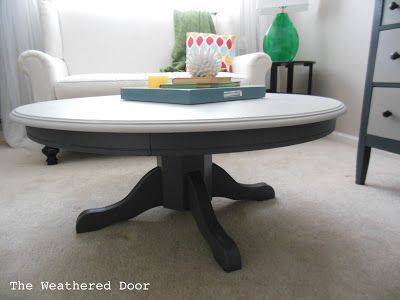 White Top Grey Bottom Painted Pedestal Coffee Table