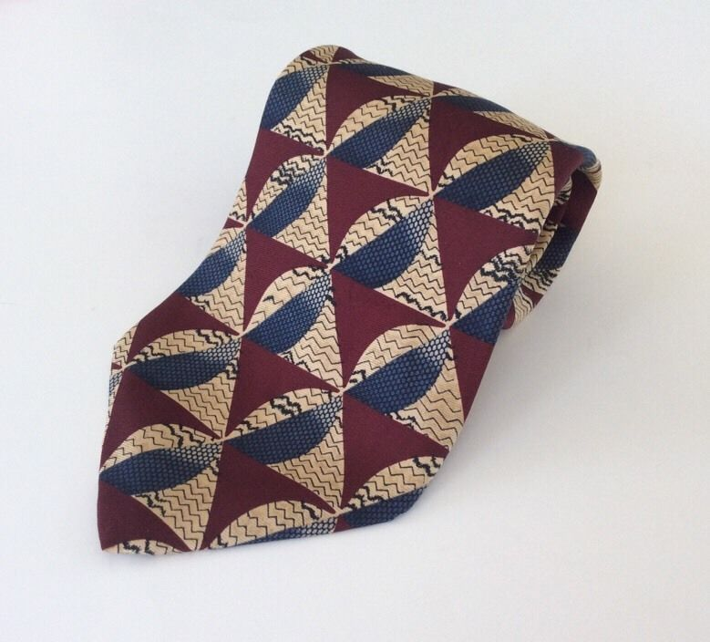 Barrington Neck Tie Red Yellow Blue Black Geometric 100% Silk #Barrington #NeckTie