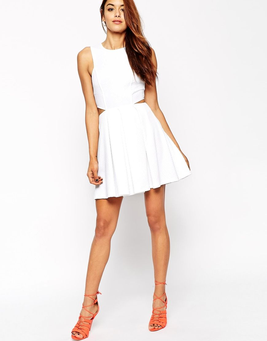 Image 4 of ASOS Skater Dress in Texture with Cut Out Side | Formal ...
